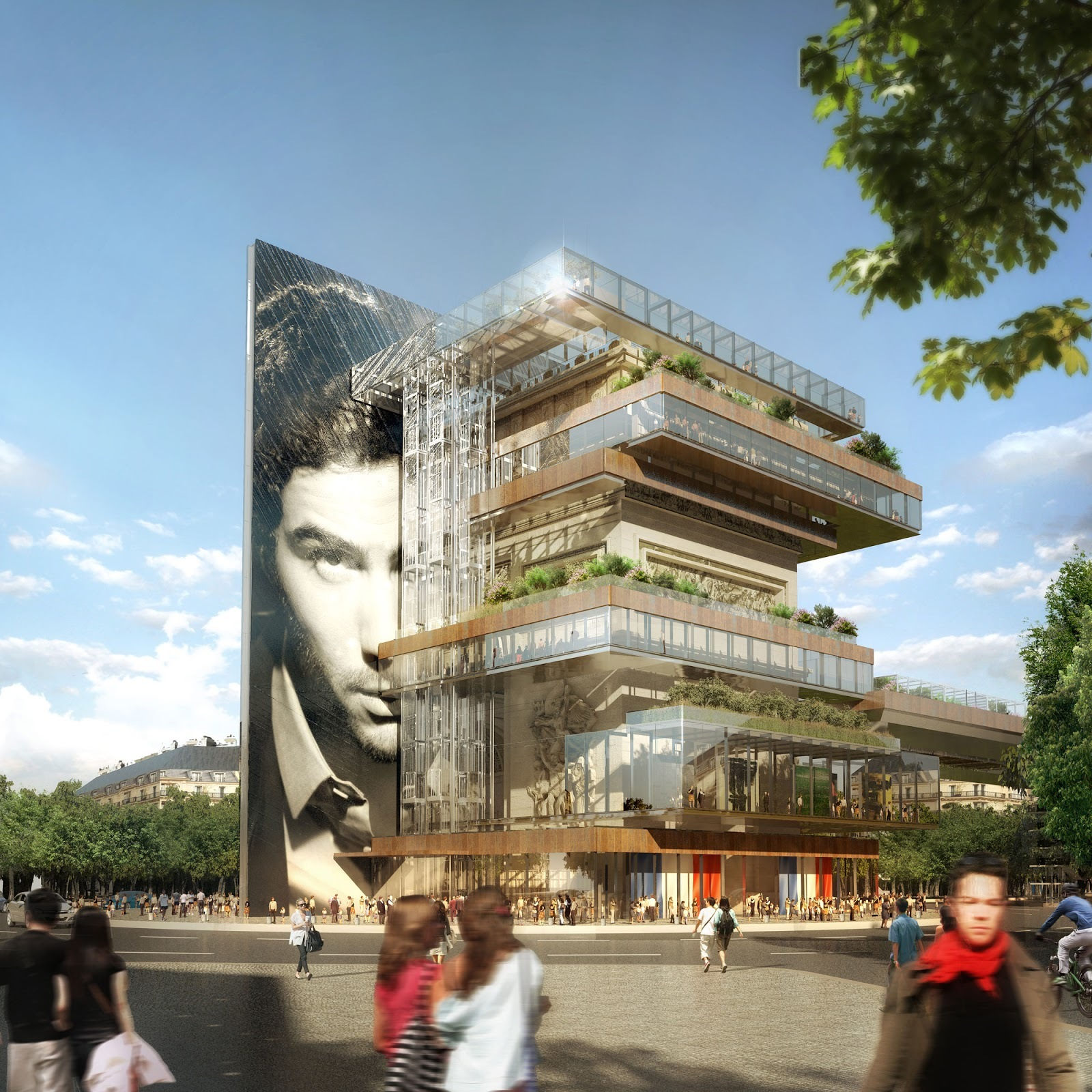 This Speculative Project Imagines A Mixed-Use Building Wrapped Around the Arc de Triomphe